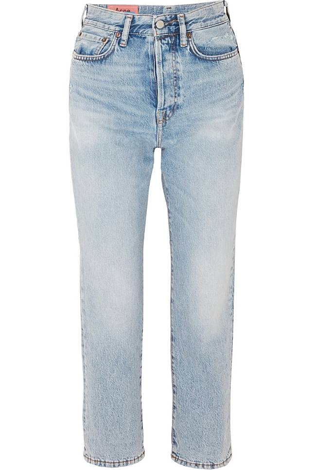 ACNE STUDIOS洗水藍色高腰直腳牛仔褲(互聯網)