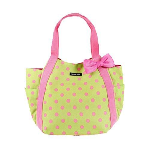 日本 Hanna Hula - 圓弧托特媽媽包-粉點綠