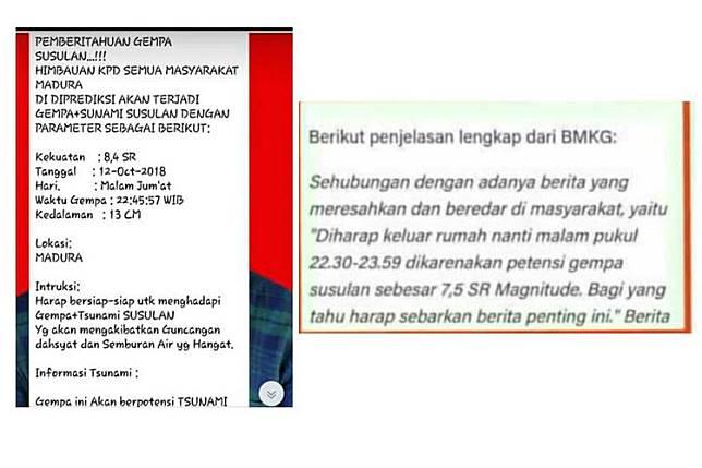 Beredar Pesan Gempa Magnitudo 8,4 dan 7,5 Jumat Ini, BMKG Sebut Hoaks