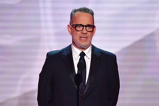 Actor Tom Hanks speaks onstage during the 25th Annual Screen Actors Guild Awards show at the Shrine Auditorium in Los Angeles on January 27, 2019.