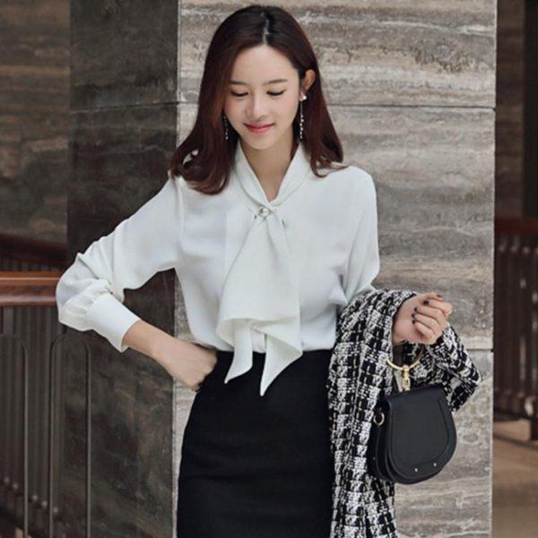 工廠直銷不退換~299春裝款名媛風通勤職業女裝襯衣荷葉領結珍珠白襯衫PF5F515紅粉佳人
