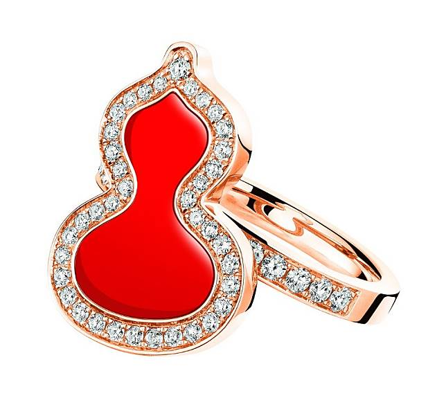 QEELIN Small Wulu Ring in 18K Rose Gold with Diamonds & Red Agate(互聯網)