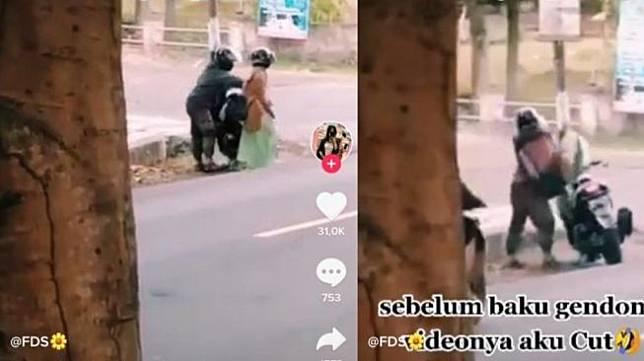 Pasangan kekasih marahan di tengah jalan. [TikTok tersebut diam-diam direkam oleh seseorang, dan dibagikan oleh akun @myname_myme.</p><figure class=