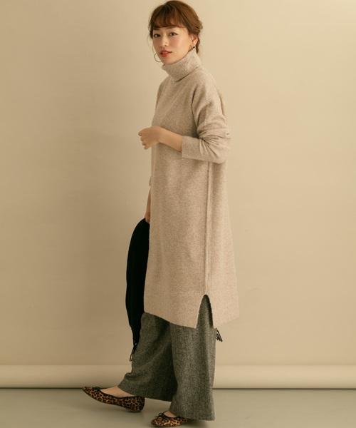 URBAN RESEARCH 高領針織連身裙:內搭羊毛寬褲打層次