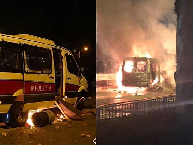 沙田警車被焚毀。左圖:港大校園電視圖片;右圖為網上圖片