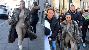 金卡達夏「穿肉色緊身衣」現身街頭 引發超大量民眾圍觀!