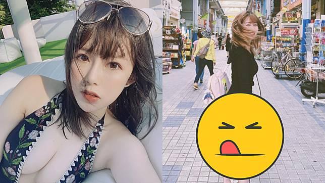 ▲阿樂分享日本街拍照,美腿及翹臀意外吸睛。(圖/臉書)