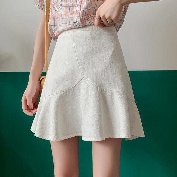 荷葉邊半身裙女新款夏季韓版魚尾裙包裙高腰短裙顯瘦a字裙子 潮流前線