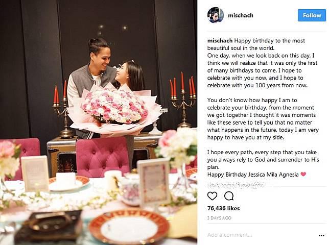 Kemesraan Mischa Tulis Kalimat Manis Di Ulang Tahun Jessica Mila