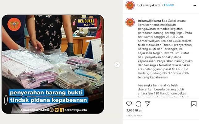 Bea Cukai Kanwil DKI Jakarta menangkap tersangka penjual handphone bekas dan ilegal yang berinisial PS / Instagram: @bckanwiljakarta