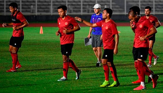 Latihan Timnas Indonesia. (Foto: Antara/Puspa Perwitasari)