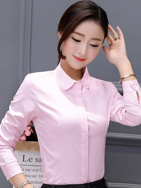 粉色襯衫女 圓領 上班服裝(長袖)OL套裝 wcps29