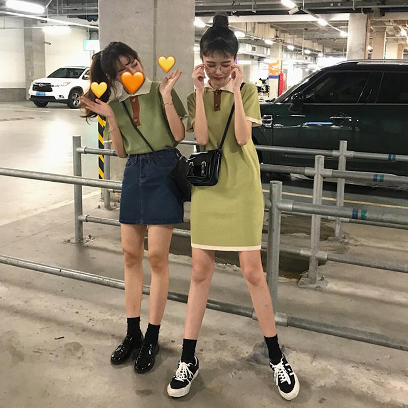 春夏裝2019新款韓版閨蜜裝小個子洋氣連衣裙女學生針織短袖t恤裙