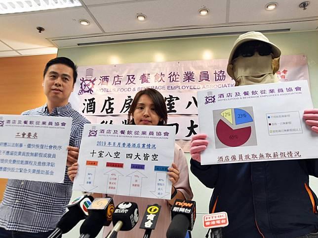 酒店及餐飲從業員協會訪問酒店業人員,受示威衝突影響,發現九成受訪者被要求放大假。
