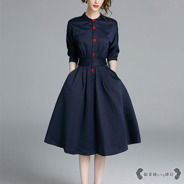 職業洋裝 七分袖氣質連衣裙OL襯衫裙女中長款收腰氣質 - 歐美韓