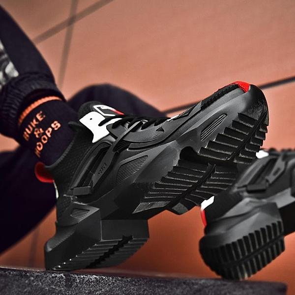 黑暗戰神運動鞋秋冬季增高黑色老爹鞋刀鋒鐵騎鬆糕鞋子男潮鞋百搭