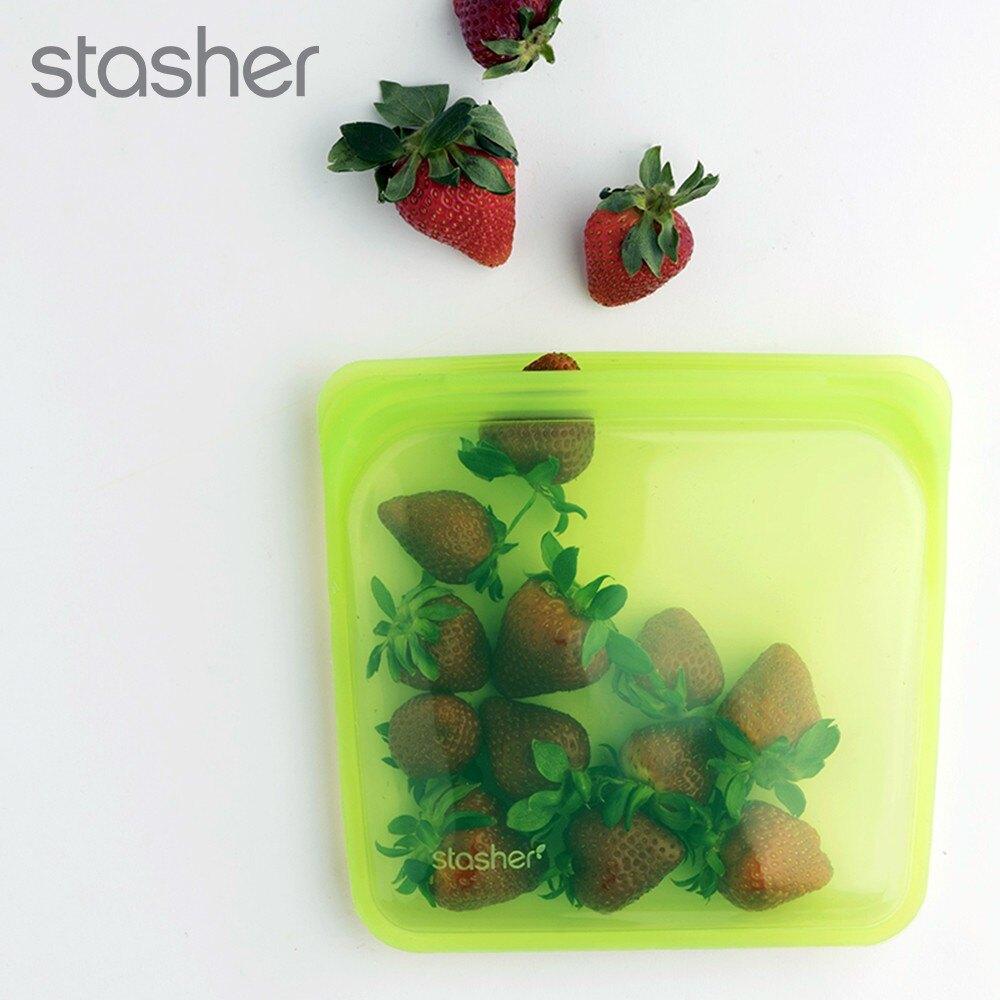 Stasher │ 美國 不塑之客矽膠密封袋超值組 (2方形 +1長形.顏色隨機)