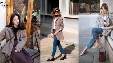 本年韓妞冬季出現率超高的外套!西裝格子外套3個穿搭風格大公開,完全顛覆你對西裝外套的印象~