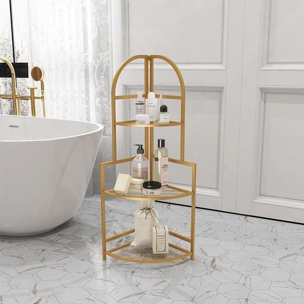 浴室置物架 鐵藝轉角架鏤空浴室可折疊置物架多層收納架 百分百