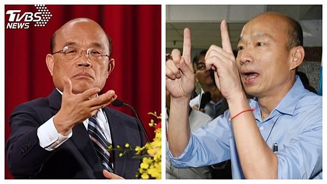 高雄市長韓國瑜(右)連日為高雄登革熱疫情,槓上行政院長蘇貞昌(左)。圖/中央社