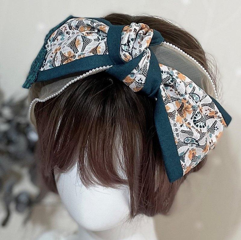 大蝴蝶結髮箍 刺繡蕾絲珍珠紗拼接 寬版髮帶式頭箍 頭飾 髮飾