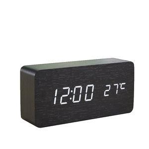 木紋LED數位電子鬧鐘 大長方形 黑