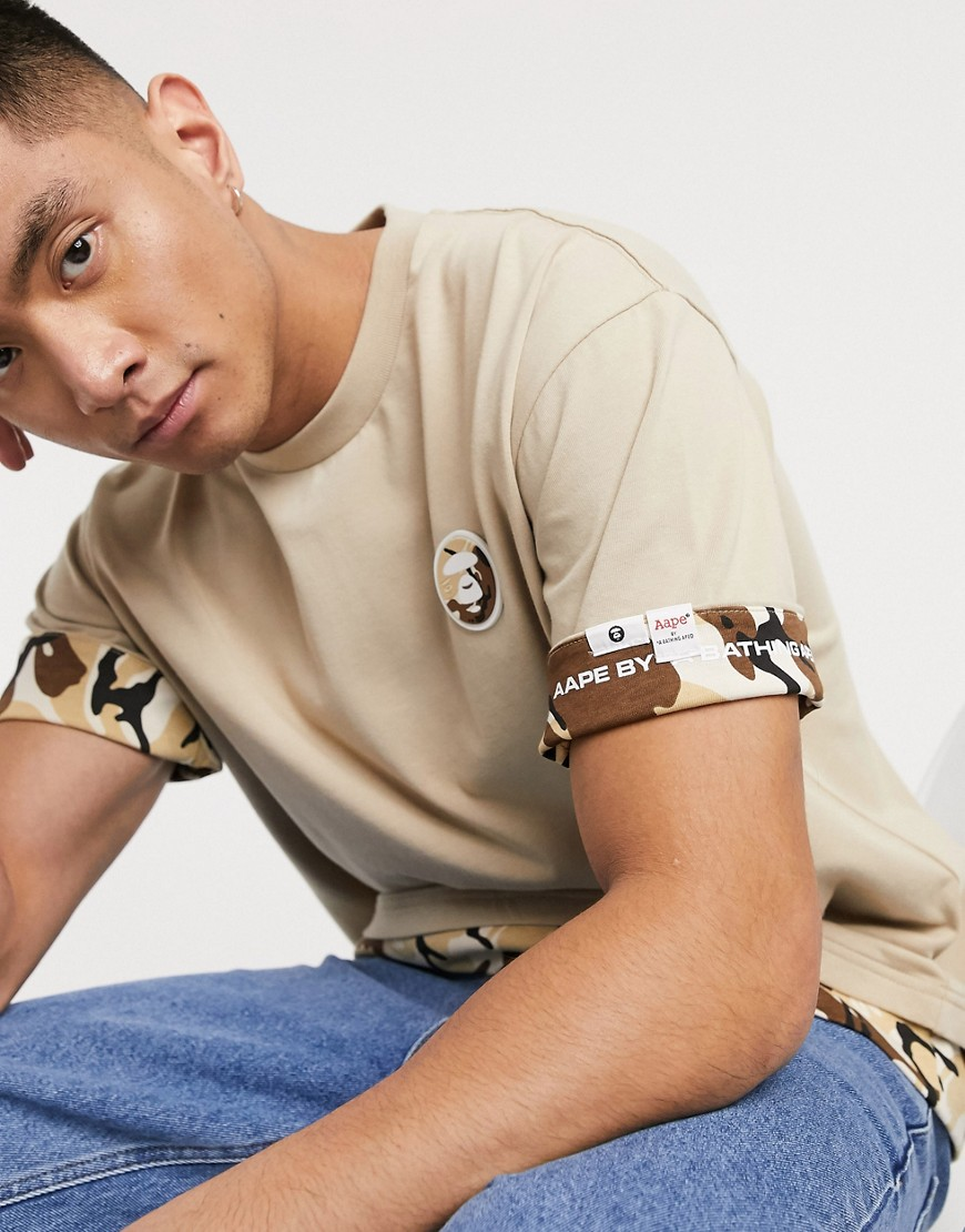 T-shirt by AAPE By A Bathing Ape A fresh addition Crew neck Short sleeves Contrast trims Loose boxy