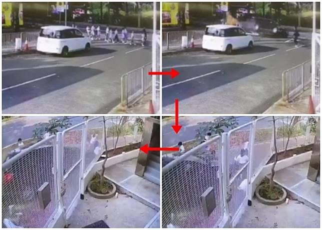 私家車剷上行人路撞倒學童經過。