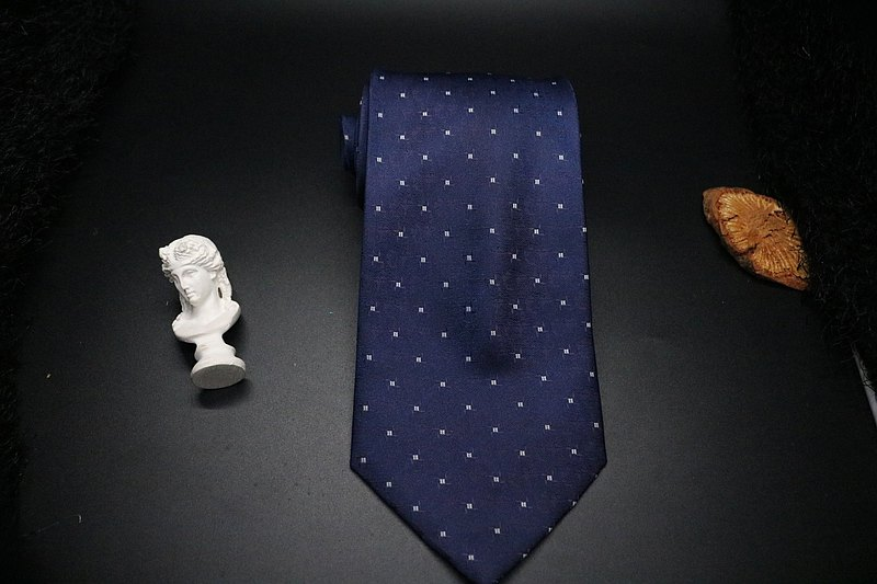 深夜藍小方塊真絲領帶,紳士正裝商務,寬度支持定制