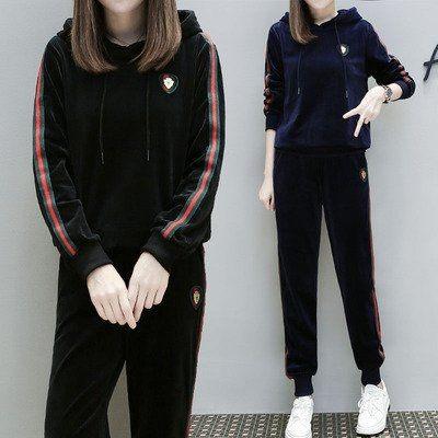 中大尺碼XL-4XL/胖妹加大碼運動套裝金絲天鵝絨休閑衛衣兩件套4F072.6665 .1號公館