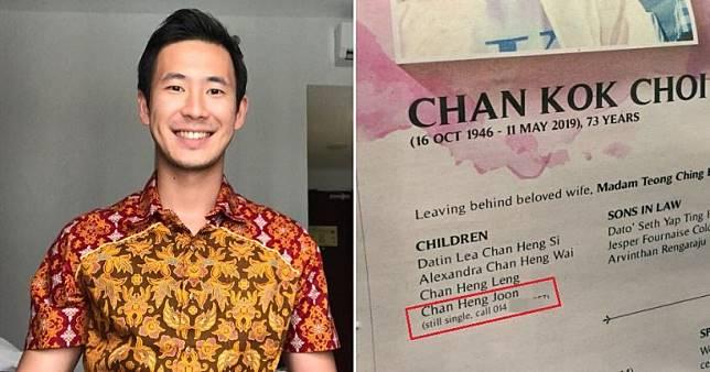 Seorang pria Malaysia dipromosikan keluarga di orbituari sang ayah karena terlalu lama menjomblo.