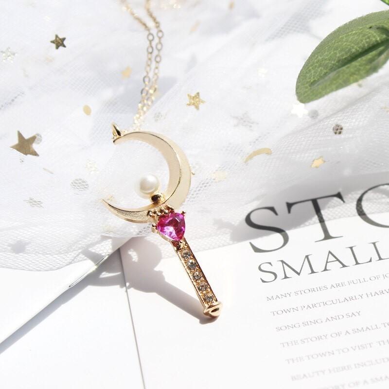 日系美少女戰士月亮鑰匙桃心鑲鑽珍珠項鏈 手鍊鎖骨鍊項鍊長鍊金鍊銀鍊 金飾銀飾墜飾