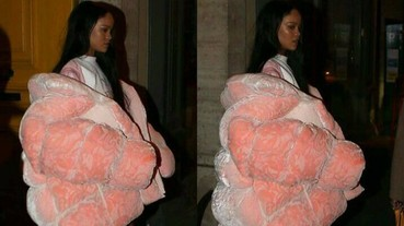 蕾哈娜穿超大粉紅外套上街 在巴黎時裝周力拼搶眼時尚度!