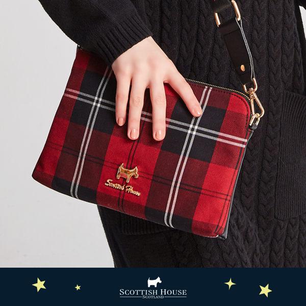 【紅黑格】愛心背帶方包 Scottish House【AJ4102】