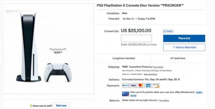 索尼PS5才預購就賣光,國外 eBay上已經炒至25100 美元