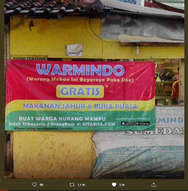 Viral Warmindo Kasih Gratis Makan Sahur dan Buka Puasa, Publik: Masya Allah. (Twitter/@duniakuli)