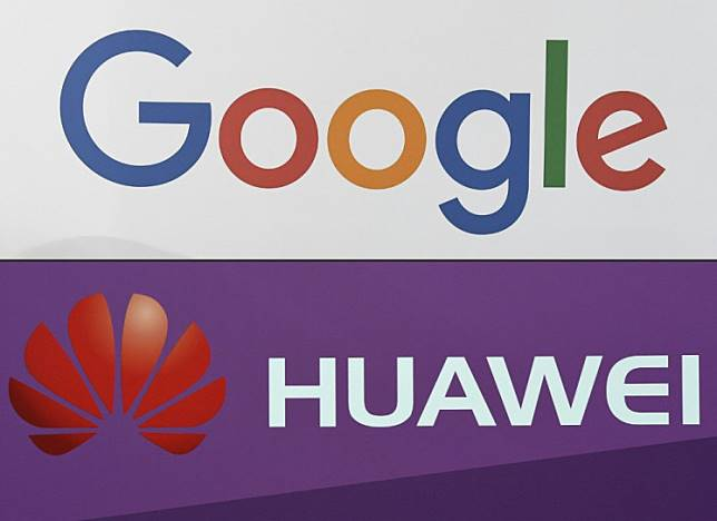 This combination of file pictures created on May 19, 2019 shows the logo of the US multinational technology company Google during the VivaTech trade fair (Viva Technology) on May 24, 2018 in Paris and the logo of Chinese electronics firm Huawei pictured during a presentation of the new Huawei Mate 9 high-end-phablet at the Huawei Global Product Launch on November 3, 2016 in Munich.  US internet giant Google, whose Android mobile operating system powers most of the world's smartphones, said on May 19, 2019 it was beginning to cut ties with China's Huawei, which Washington considers a national security threat.