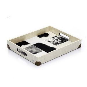 獨創設計商品-巴西牛皮馬賽克托盤_雅頓珍珠白-印象派黑白