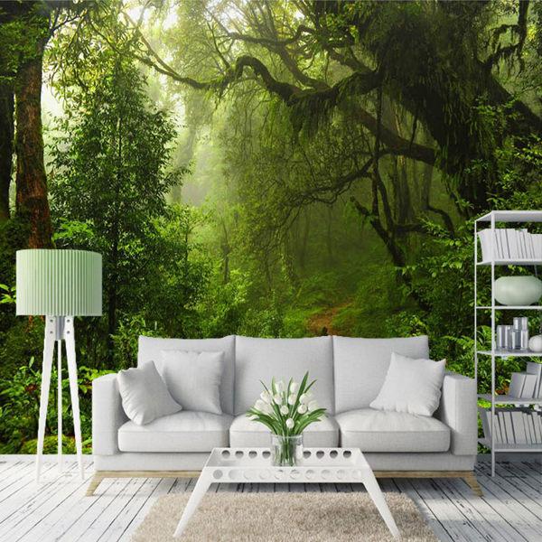 風景壁紙3d墻紙田園大自然森林立體畫臥室沙發客廳電視背景墻壁畫
