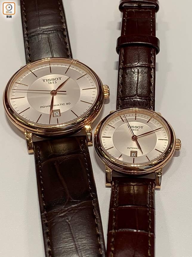 同步登場有Carson自動腕錶,男裝直徑40mm搭載Powermatic 80自動機芯,女裝直徑30mm搭載自動上鏈機芯。(朱寶茵攝)