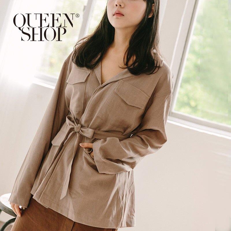 Queen Shop【02071156】大口袋西裝領腰綁帶外套 兩色售*現+預*