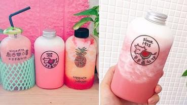 果汁就要是胖胖瓶!可以大口大口吸的粉紅西瓜牛奶和超夢幻的鳳梨冰沙~天氣再熱也不怕啦!