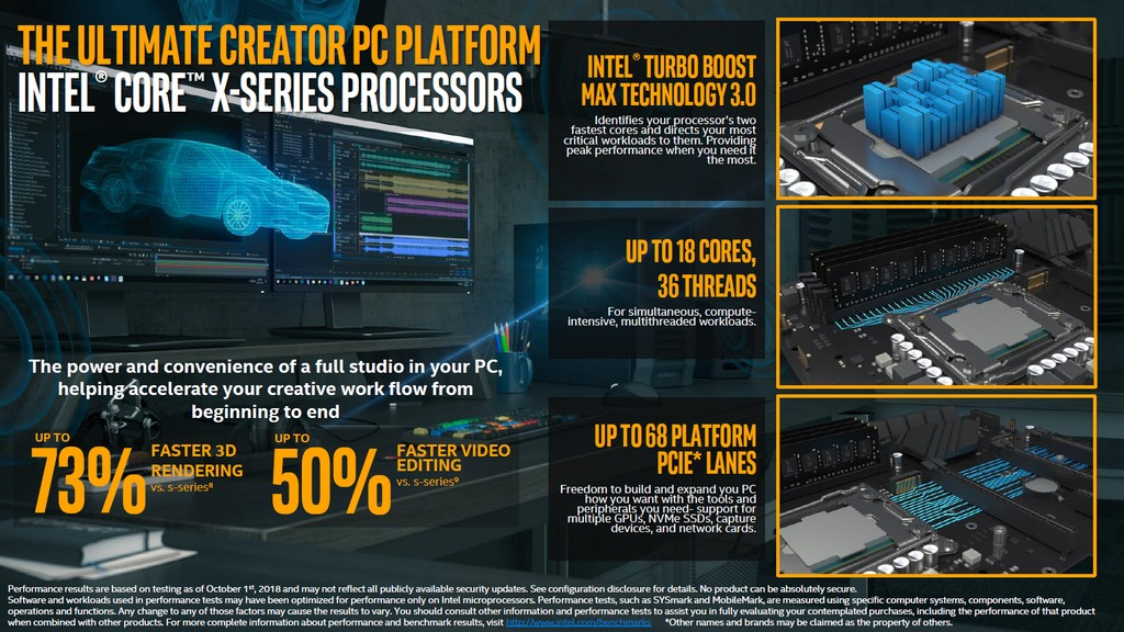 Core i9-9980XE 相對於 Core i9-9900K,Blender 3D 渲染繪圖速度提升 73%,Adobe Premiere Pro 影片編輯速度提升 50%