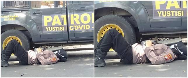 Viral polwan jaga kantor Bawaslu sambil gendong anak yang tertidur
