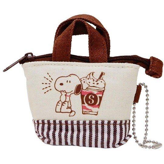 〔小禮堂〕史努比 手提袋造型帆布零錢包《米棕.冰沙杯》掛飾.收納包.耳機包 4935124-50040