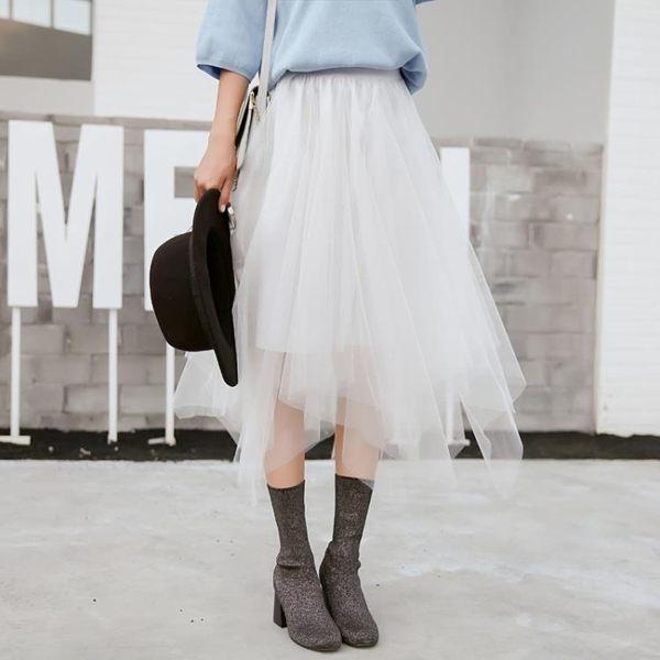 網紗裙 新款高腰中長款顯瘦半身裙百搭網紗公主裙不規則大擺蓬蓬裙女
