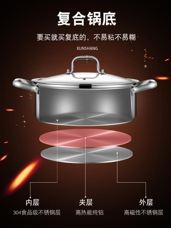 鴛鴦鍋 迅尚 德國家用加厚304不銹鋼鴛鴦火鍋鍋具電磁爐專用串串鍋火鍋盆