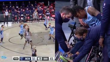 NBA/又是傷兵噩耗!灰熊球星 Ja Morant 嚴重扭傷左腳踝,表情痛苦坐輪椅回休息室
