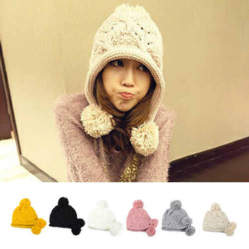 萌 可愛 氣質 保暖 毛線 針織帽 休閒 百搭 毛線帽