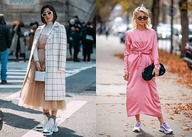 愛穿裙子的你,用老爹鞋搭配飄逸長裙穿出反差,效果是意想不到地好看。(互聯網)